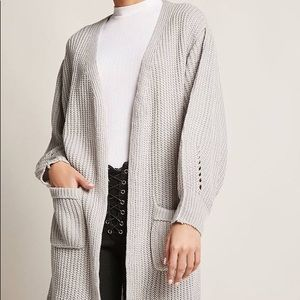 PURL KNIT OPEN-FRONT CARDIGAN